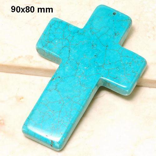 Cx 3233b croix chretienne crucifix 60x80mm blue turquoise pendant achat vente