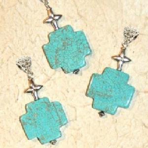Cx 3234c croix chretienne crucifix 25x25mm blue turquoise pendant achat vente