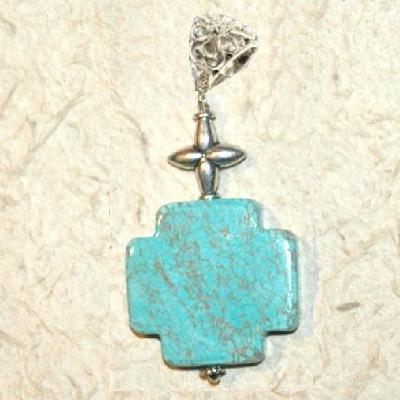Cx 3234d croix chretienne crucifix 25x25mm blue turquoise pendant achat vente