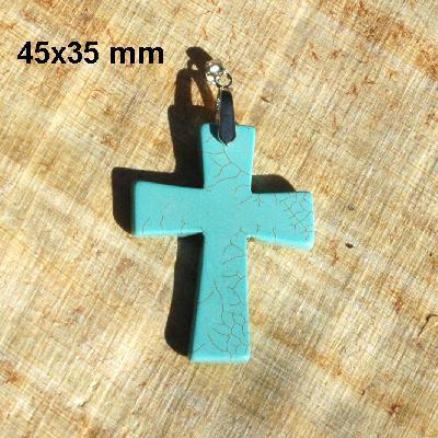 Cx 3238a croix chretienne crucifix 45x35mm blue turquoise pendant achat vente