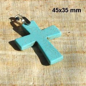 Cx 3238b croix chretienne crucifix 45x35mm blue turquoise pendant achat vente