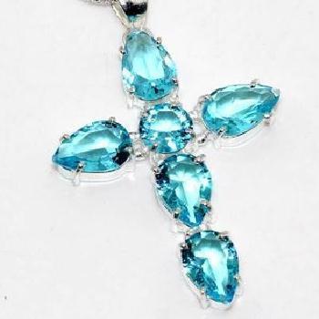 Cx 3249c croix crucifix chaine 13gr pendentif pendant 35x45mm topaze bleue argent 925