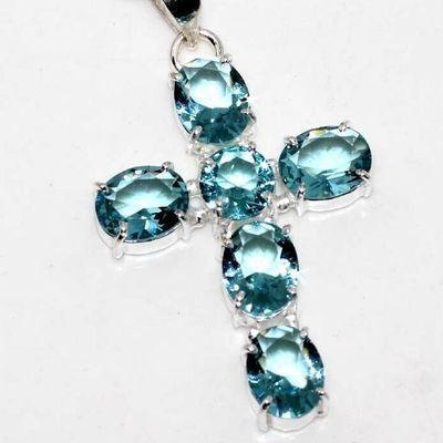 Cx 3250c croix crucifix chaine 13gr pendentif pendant 30x40mm topaze bleue argent 925