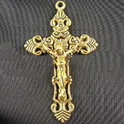 Cx 5603a pendentif croix chretienne bronze dore 35x50mm 5 5gr crucifix achat vente bijou