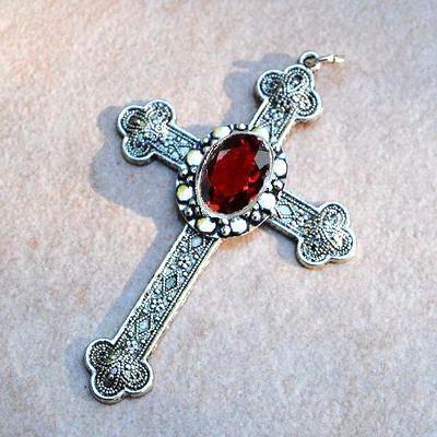 Cx 5607a pendentif croix chretienne grenat 14gr crucifix achat vente bijou argent 3