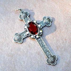 Cx 5607b pendentif croix chretienne grenat 14gr crucifix achat vente bijou argent 3