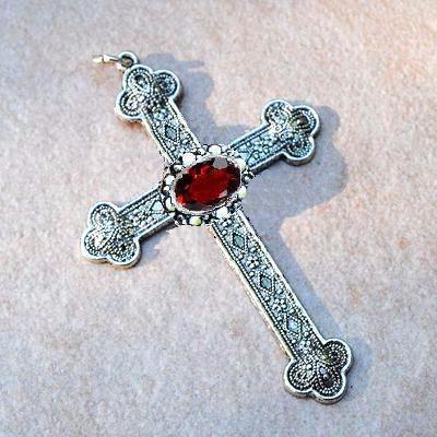 Cx 5608b pendentif croix chretienne grenat 14gr crucifix achat vente bijou argent 3