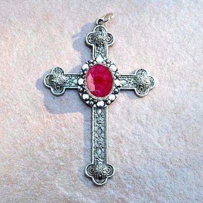 Cx 5609b pendentif croix chretienne rubis 14gr crucifix achat vente bijou argent