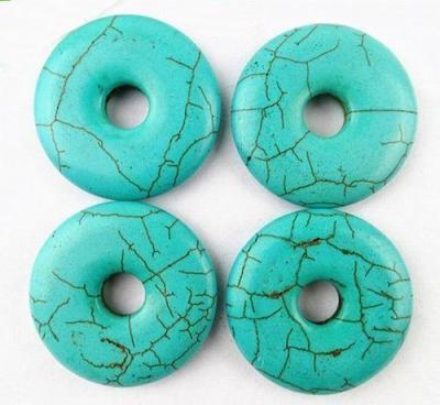 Don 005a donut turquoise woolite 17gr diam 40x7mm vente perles pendentif ethnique 1