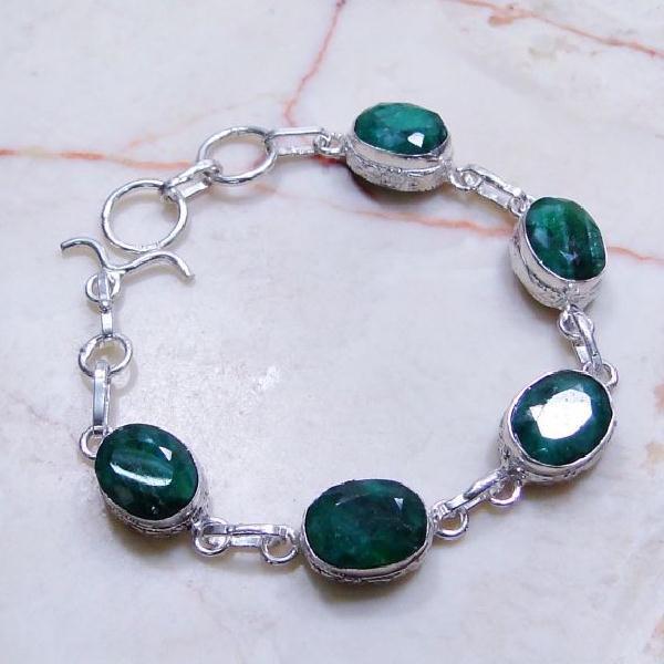 Em 0056a bracelet emeraude bolivie facettee achat vente bijou artisanal argent 925