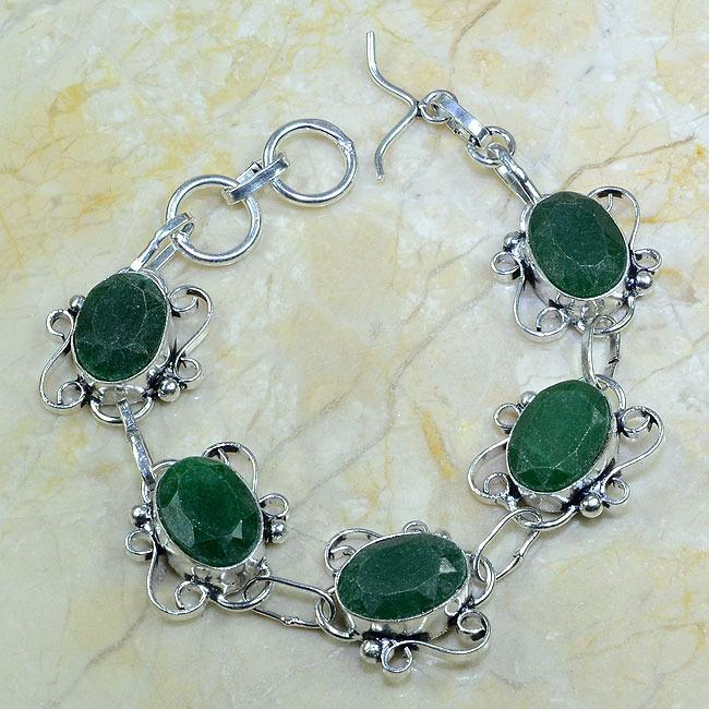 EM-0318-bracelet-emeraude - Magnifique BRACELET en EMERAUDE de BOLIVIE - Argent 925 - 108 carats - 21 gr