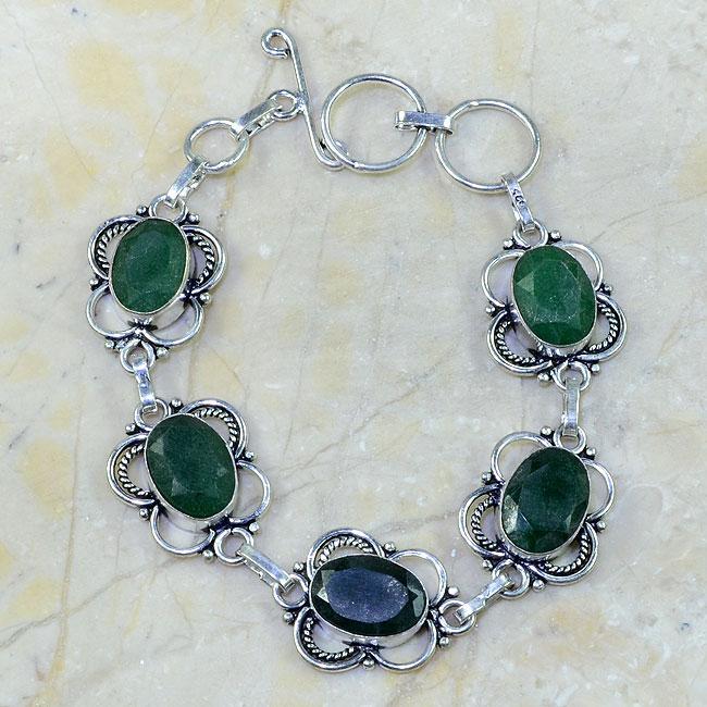 EM-0319-bracelet-emeraude - Magnifique BRACELET en EMERAUDE de BOLIVIE - Argent 925 - 103 carats - 20 gr
