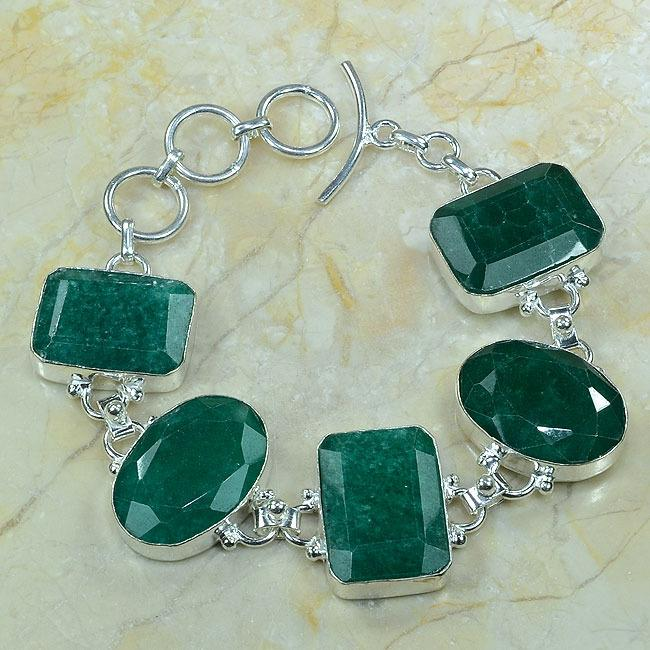 EM-0342 - Magnifique BRACELET en EMERAUDE de BOLIVIE - Argent 925 - 210 carats - 42 gr