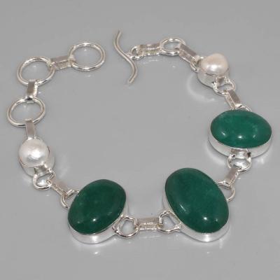 Em 0348a bracelet emeraude perle argent 925 achat vente 1