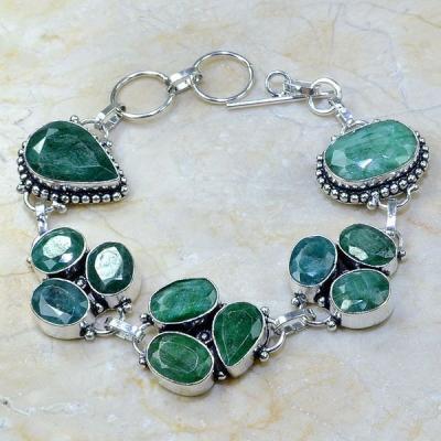 Em 0418a bracelet emeraude argent 925 achat vente bijoux