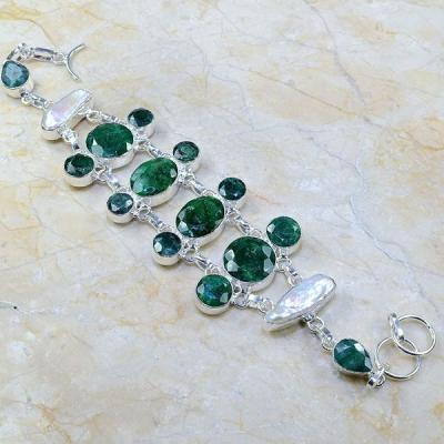 Em 0429a bracelet emeraude perles nacre argent 925 achat vente bijoux