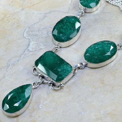 Em 0430b collier parure sautoir emeraude bijou argent 925 achat vente