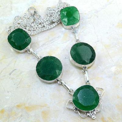 Em 0432a collier parure sautoir emeraude bijou argent 925 achat vente
