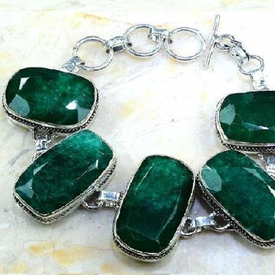 Em 0440b bracelet emeraude emerald pierre taillee argent 925 achat vente bijoux