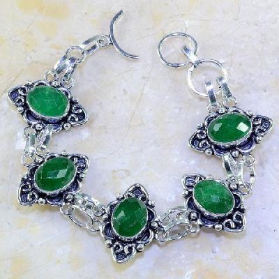 Em 0448a bracelet emeraude emerald pierre taillee argent 925 achat vente bijoux