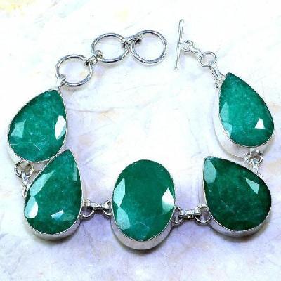 Em 0484a bracelet emeraude emerald pierre taillee argent 925 achat vente bijoux