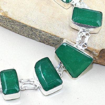 Em 0489b bracelet emeraude emerald pierre taillee argent 925 achat vente bijoux