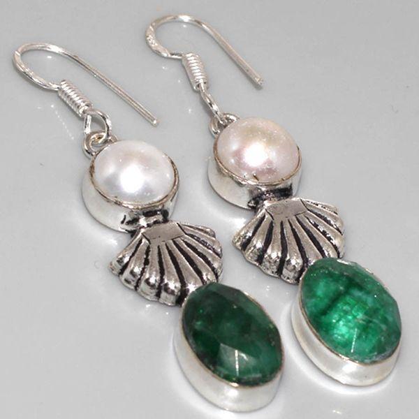 Em 0516a boucles oreilles pendant emeraude bresil achat vente bijoux ethniques