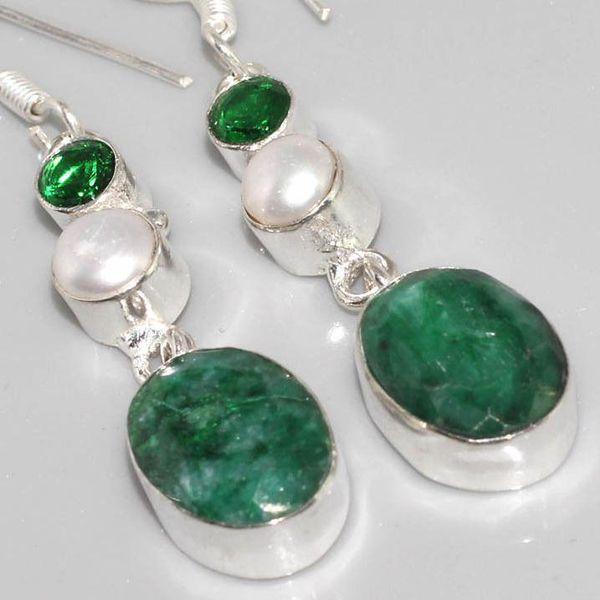Em 0517c boucles oreilles pendant emeraude bresil achat vente bijoux ethniques