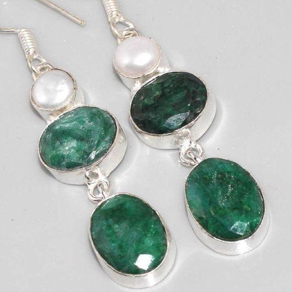 Em 0519c boucles oreilles pendant emeraude bresil perle achat vente bijoux ethniques