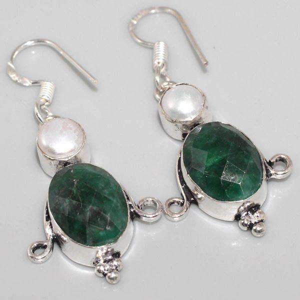 Em 0520a boucles oreilles pendant emeraude bresil perle achat vente bijoux ethniques