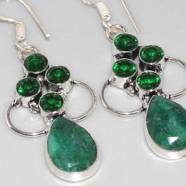 Em 0521c boucles oreilles pendant emeraude bresil perle achat vente bijoux ethniques