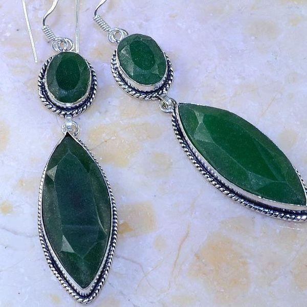 Em 0524c boucles oreilles pendant emeraude bresil perle achat vente bijoux ethniques