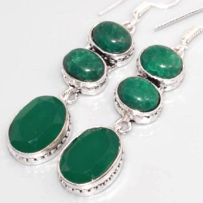 Em 0612c boucles oreilles emeraude onyx vert
