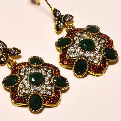 Em 0614c boucles oreilles emeraude rubis achet vente bijoux victorien 1 1