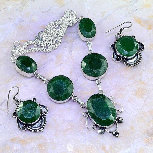 Em 0615a parure collier boucles oreilles emeraudes achat vente bijoux 1