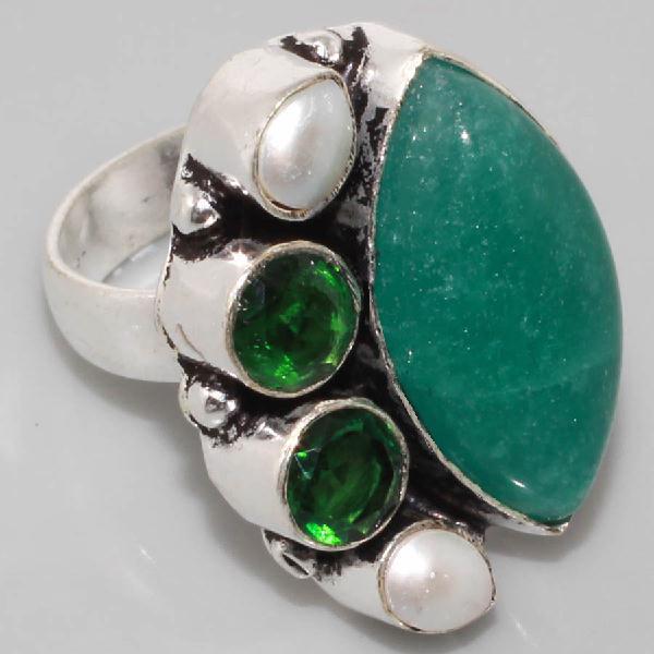 Em 0622a bague t54 emeraude perle achat vente bijoux argent 925
