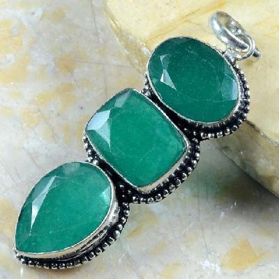 Em 0626a pendentif emeraude emerald lithotherapie gemme argent 925 achat vente bijoux