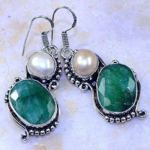 Em 0644a boucles oreilles emeraude perle nacre achat vente bijoux argent 925 1 1