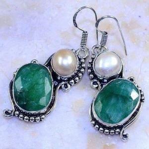 Em 0644b boucles oreilles emeraude perle nacre achat vente bijoux argent 925 1 1