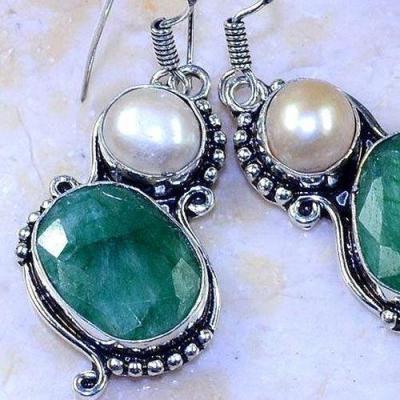 Em 0644c boucles oreilles emeraude perle nacre achat vente bijoux argent 925 1 1
