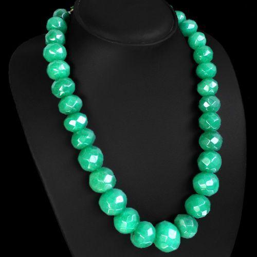 Em 0719b collier parure sautoir 10x15mm emeraudes facette achat vente bijoux argent 925