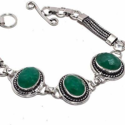 Em 0771b bracelet emeraudes 10x15mm 17gr achat vente bijoux argent 925