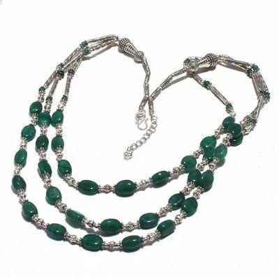 Em 0774d collier parure sautoir emeraudes 3 rangs 43gr achat vente bijoux argent 925 1 1