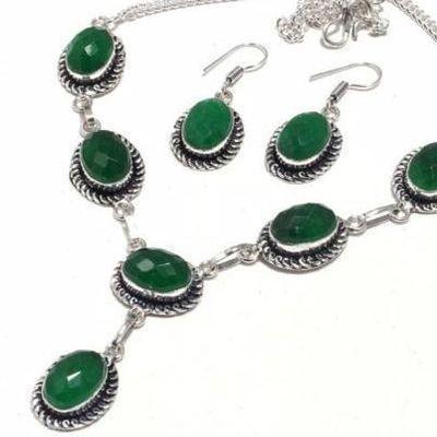 Em 0779b collier boucles oreilles parure sautoir emeraudes 35gr achat vente bijoux argent 925 1 1