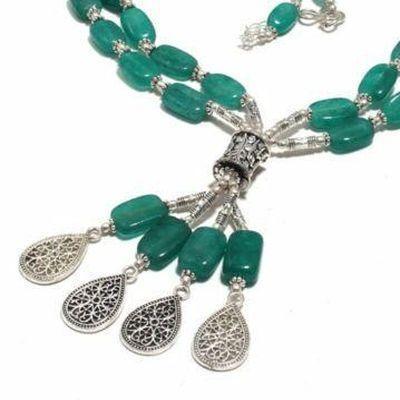 Em 0783b collier parure sautoir emeraudes 2 rangs 66gr rosaces achat vente bijoux argent 925 1 1