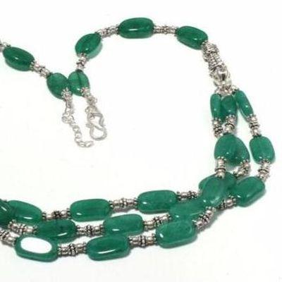Em 0784c collier parure sautoir emeraudes 3 rangs 8x12mm 43gr achat vente bijoux argent 925 1 1