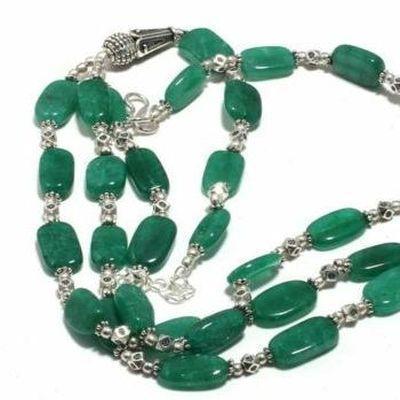 Em 0786b collier parure sautoir emeraudes 3 rangs 8x12mm 50gr achat vente bijoux argent 925 1 1