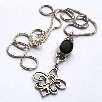 Em 0802c pendentif chaine fleur de lys emeraude argent 925 achat vente bijoux