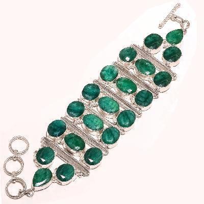 Em 0909d bracelet 18cm 21x emeraudes bolivie 10x12mm 50gr achat vente bijoux argent 925