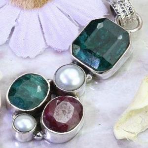 Em 0921a pendentif 9gr pendant emeraude rubis perle nacre medieval achat vente bijoux argent 925
